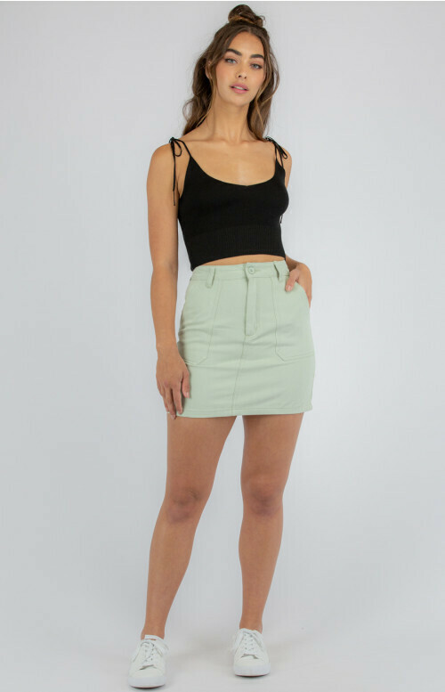 A-Line Denim Skirt - Mint - Style State