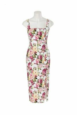 Floral midi dress with side leg split - Sweet Pot