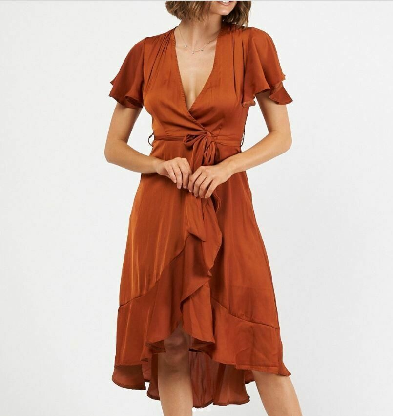 Camel Wrap Dress - Rust - Ebby and I