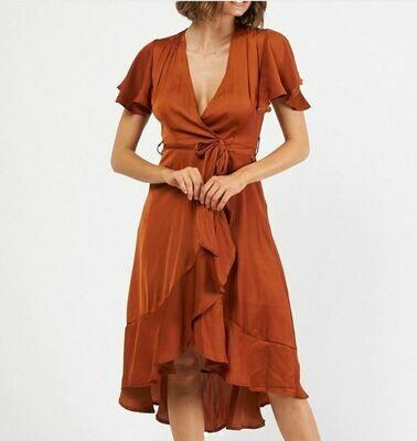 Camel Wrap Dress - Rust - Ebby and I