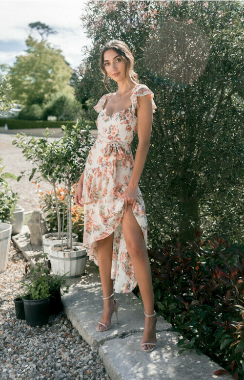 Floral Butterfly Sleeve Tiered Maxi Dress - Ajoy
