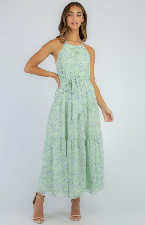 Floral Halter Neck Maxi Dress Mint - Ajoy