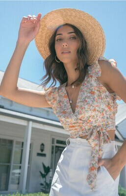 Floral Frill Top With Waist Tie - Style State