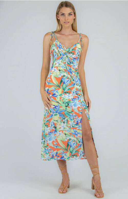 Tropical Print Drawstring Front Dress - Style State