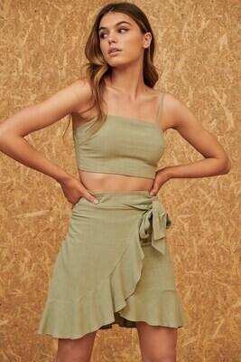 Linen Wrap Skirt - Black & Sage - Style List