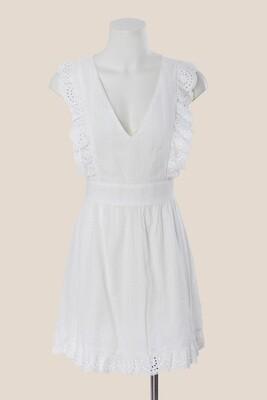 White Dress Ruffels and Open Back - Sweet Pot
