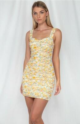 Floral ruche mustard dress - winnie & co