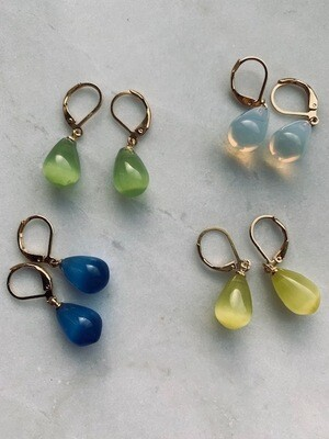 Ginni Earrings - White, Blue, Green & Yellow