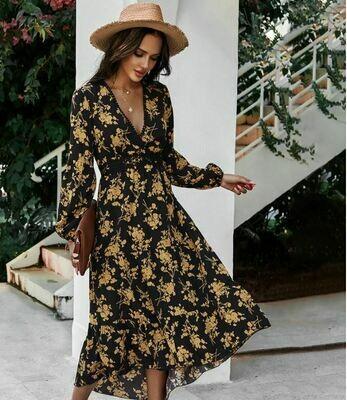 Gold Rose Midi Dress  - Sienna Joy