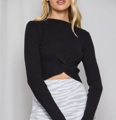 Knot Front Detail Knit Top - Winnie & Co