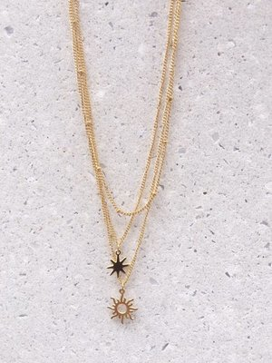 GIRLS JUST WANNA HAVE SUN NECKLACE - GOLD & SILVER