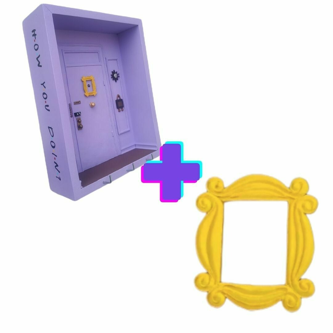 Paquete Friends portallaves de pared personalizado + Porta retrato decorativo para puerta, serie Friends