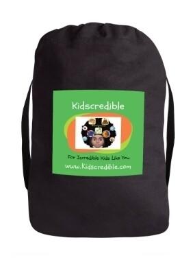 Logo Book Bag w/Adjustable Draw String Closure and Strap- Black