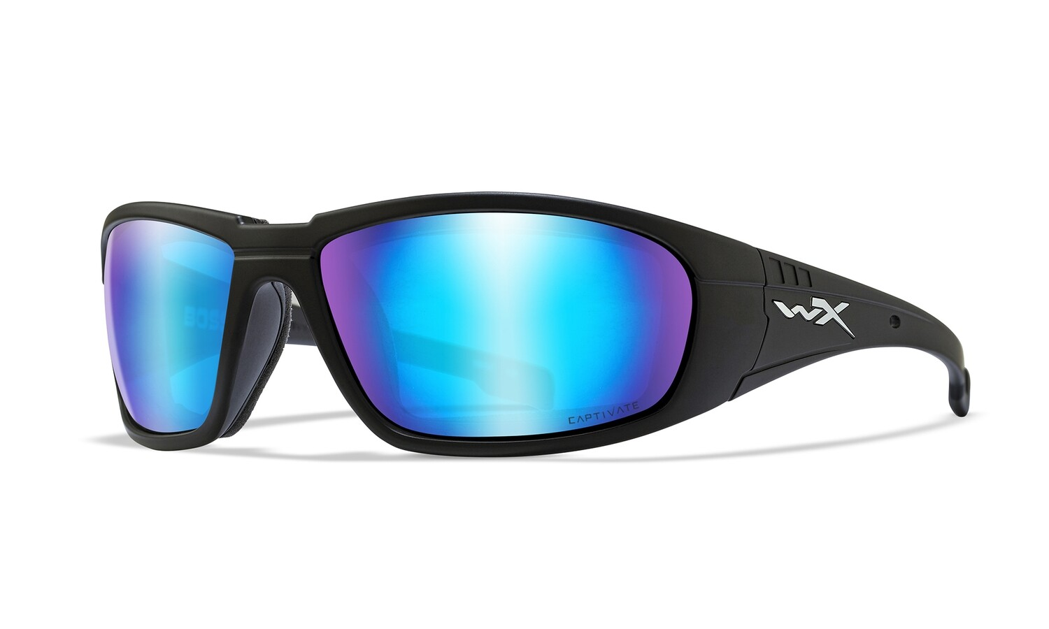 Wiley-X, CCBOS09, Cativate Polarized Blue Mirror/Matte Black