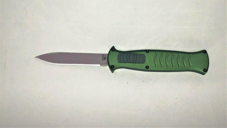 AKC, EVO-GS, X-Treme OTF, Green T6 Aluminum, Satin AUS8 Blade
