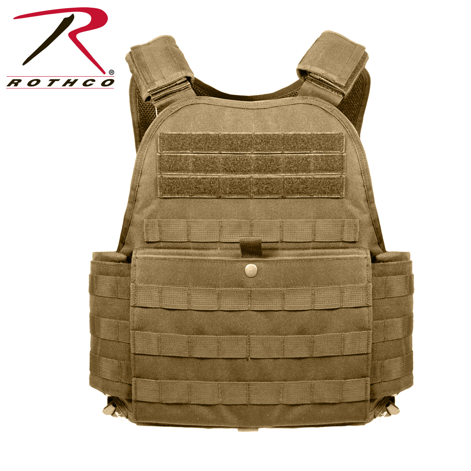 Rothco, 1923, Coyote Brown M.O.L.L.E. Plate Carrier Vest-2XL/3XL