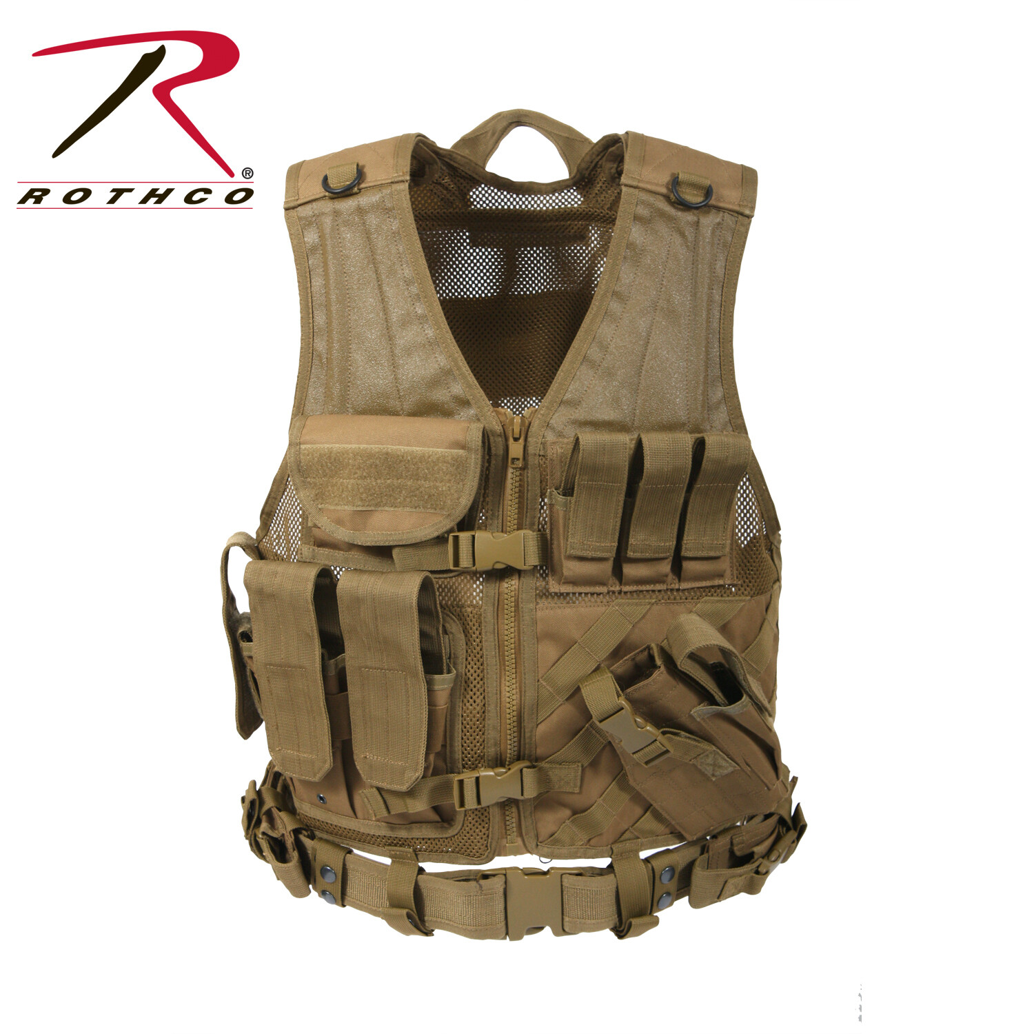Rothco, 4491, Coyote Brown M.O.L.L.E Cross Draw Tactical Vest
