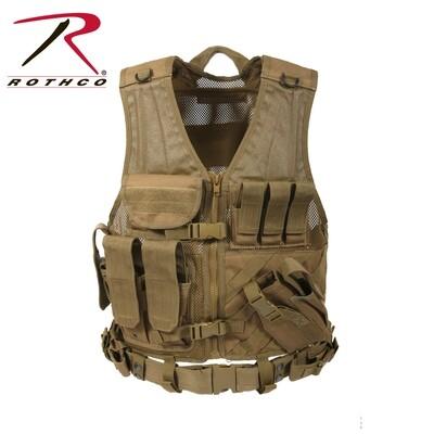 Rothco, 4491, Coyote Brown M.O.L.L.E Cross Draw Tactical Vest