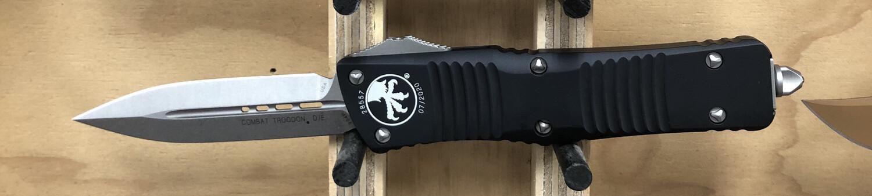 Microtech, 142-10 Combat Troodan, D/E Stonewash Blade, Black Handle/ Satin Blade
