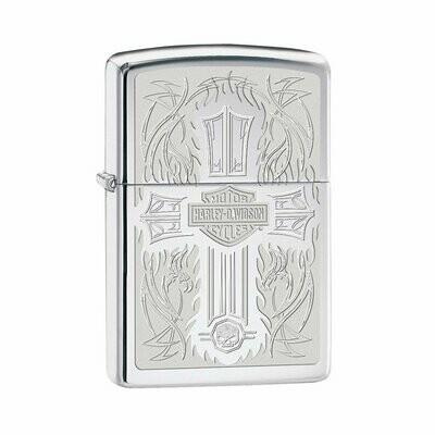 Zippo, 28982, Harley Davidson, Intricate cross design