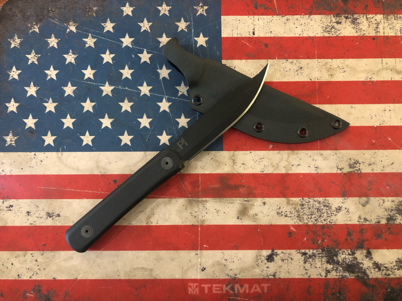 JPBW, 206BG10KX, Model 206, Bowie Style Bushcraft, Black G-10 Handle, 1095 Powder Coated Blade, Black Kydex Sheath