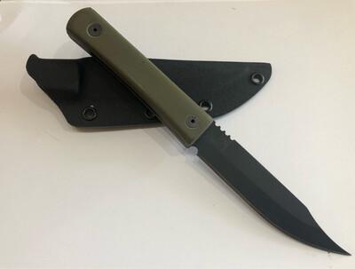 JPBW, 206OD, Olive Drab G-10 Handle, Black Powder Coat 1095, w/kydex sheath
