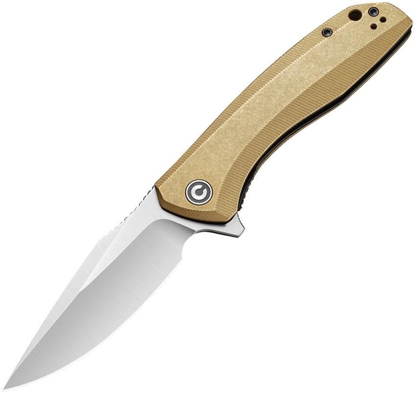 CIVIVI, 801J, Baklash Brass Handle, 154CM blade Stonewash