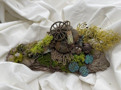 Mossy Deco Bark Sculpture with Key