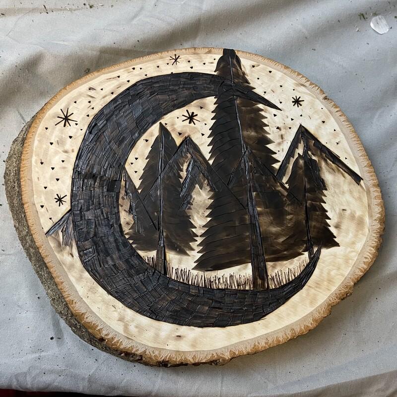 "Moon & Trees Wood Burning Piece 8""-10"""