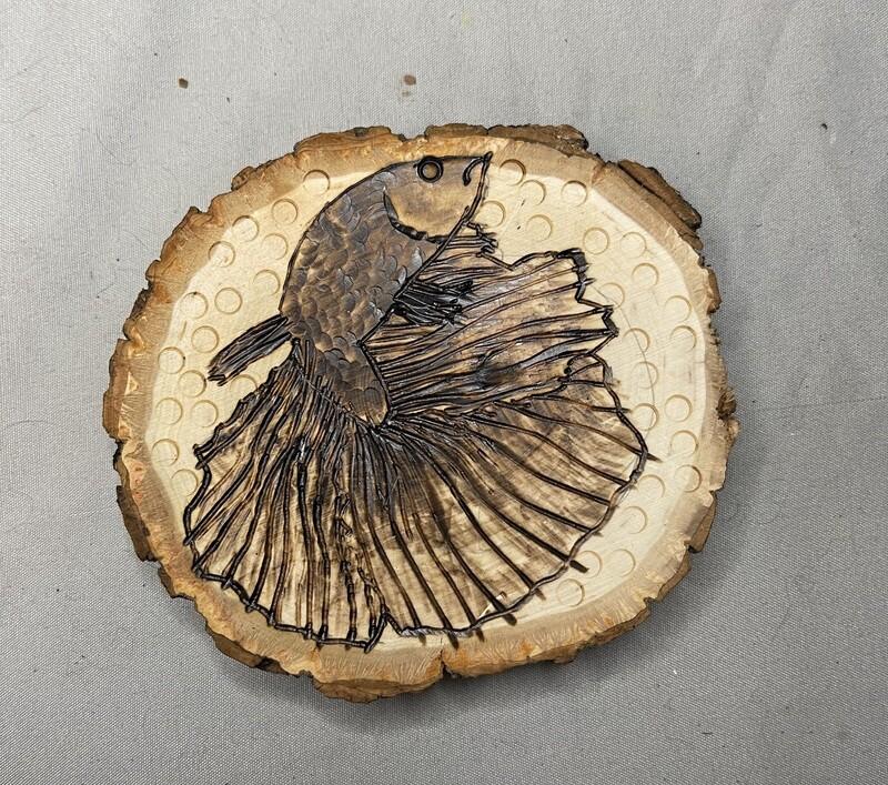 """Betta Fish Wood Burning Piece 5""""-6"""""""