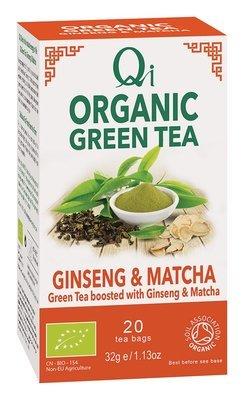 Qi Organic Green Tea, Ginseng & Matcha