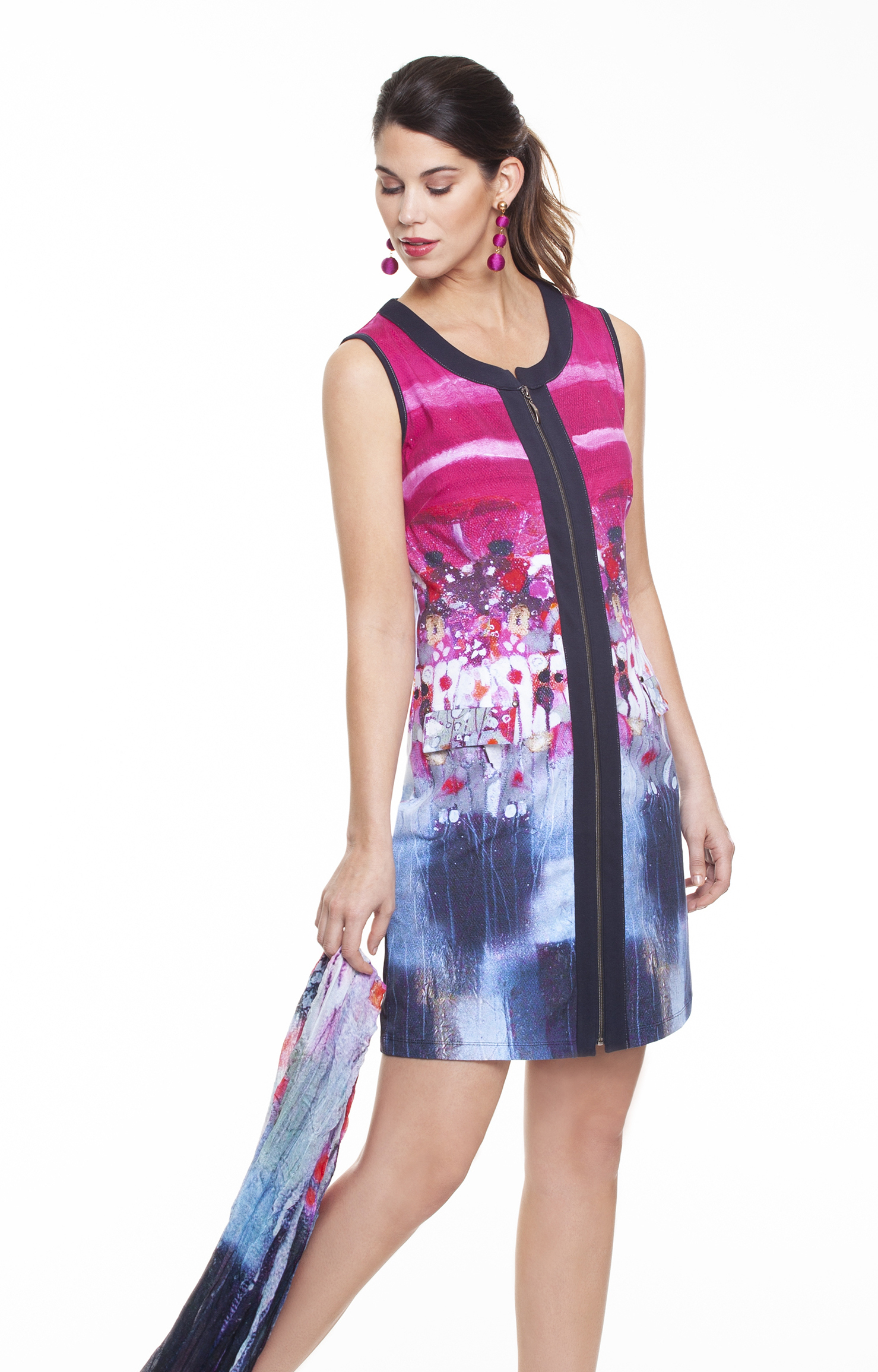 Simply Art Dolcezza: Fuschia Candy Storm Abstract Art Zip Dress SOLD OUT DOLCEZZA_SA_19653