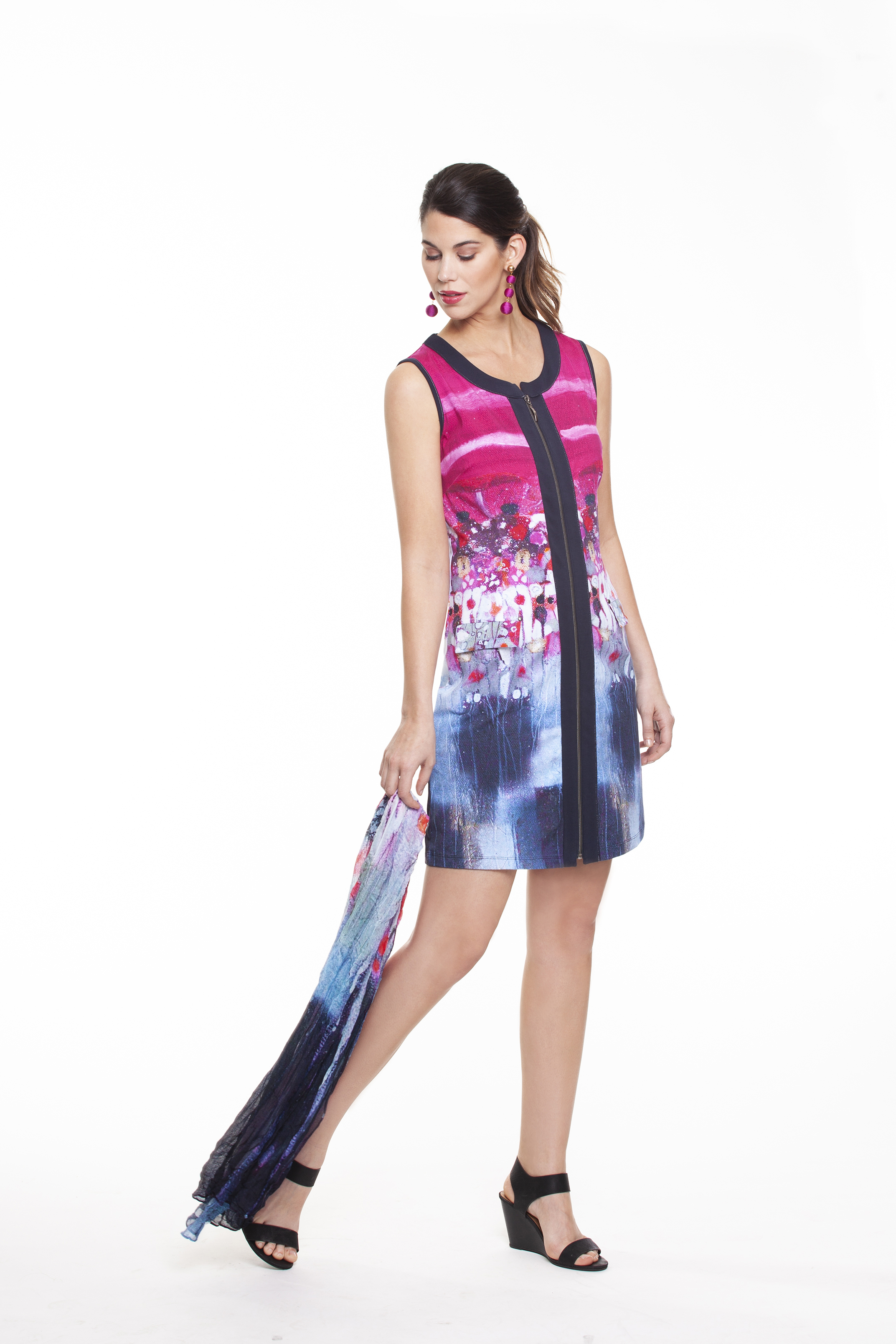 Simply Art Dolcezza: Fuschia Candy Storm Abstract Art Zip Dress SOLD OUT