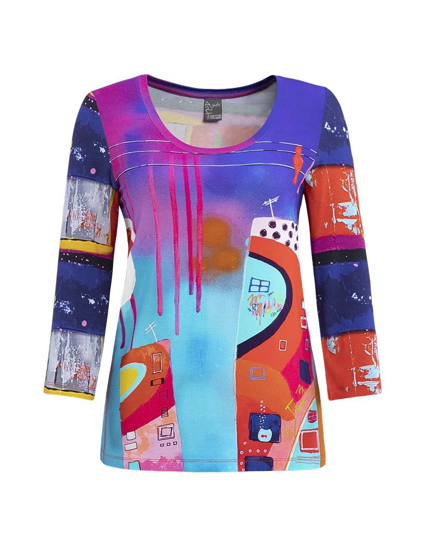 Simply Art Dolcezza: Fuschia Paint Spill Abstract Art Tunic SOLD OUT DOLCEZZA_SIMPLY_ART19631