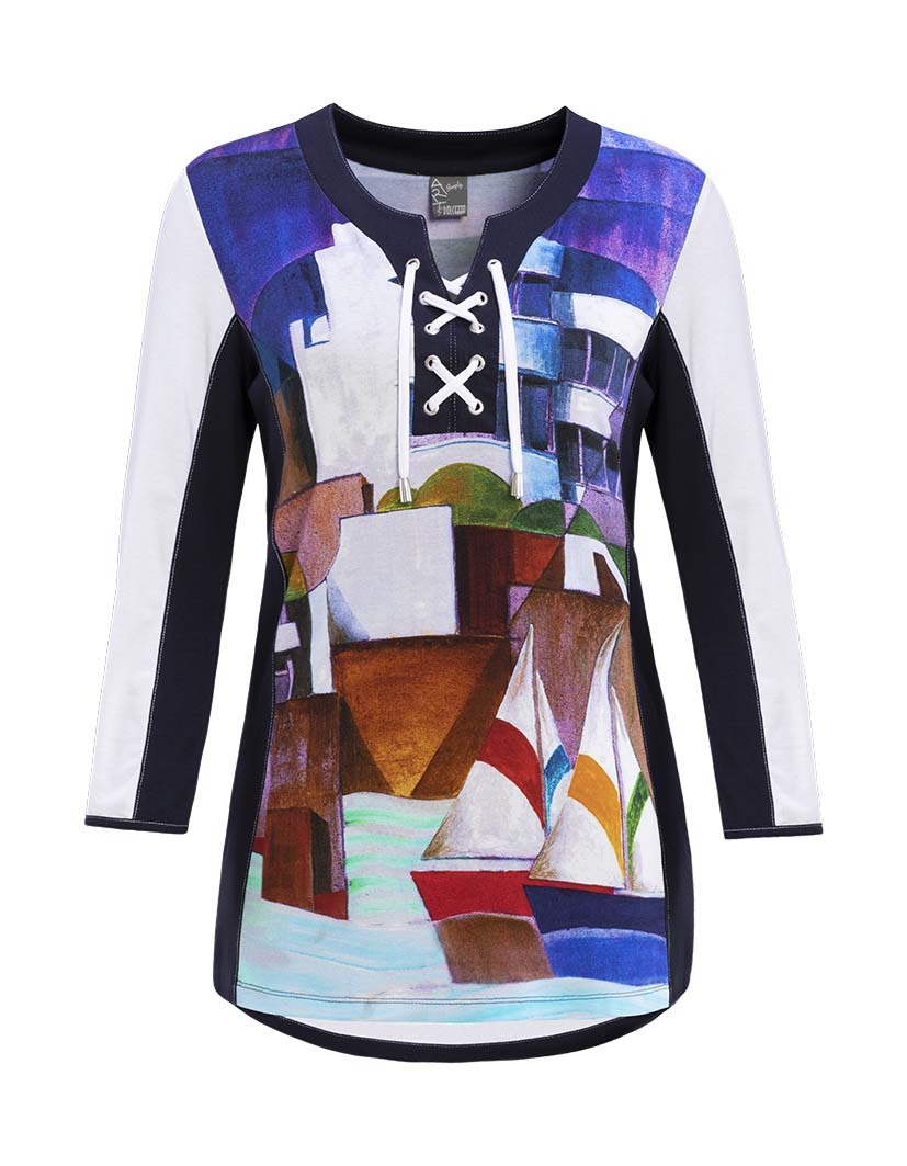 Simply Art Dolcezza: Sandycove Harbor Abstract Art Flared Tunic (2 Left!) DOLCEZZA_SIMPLY_ART19600