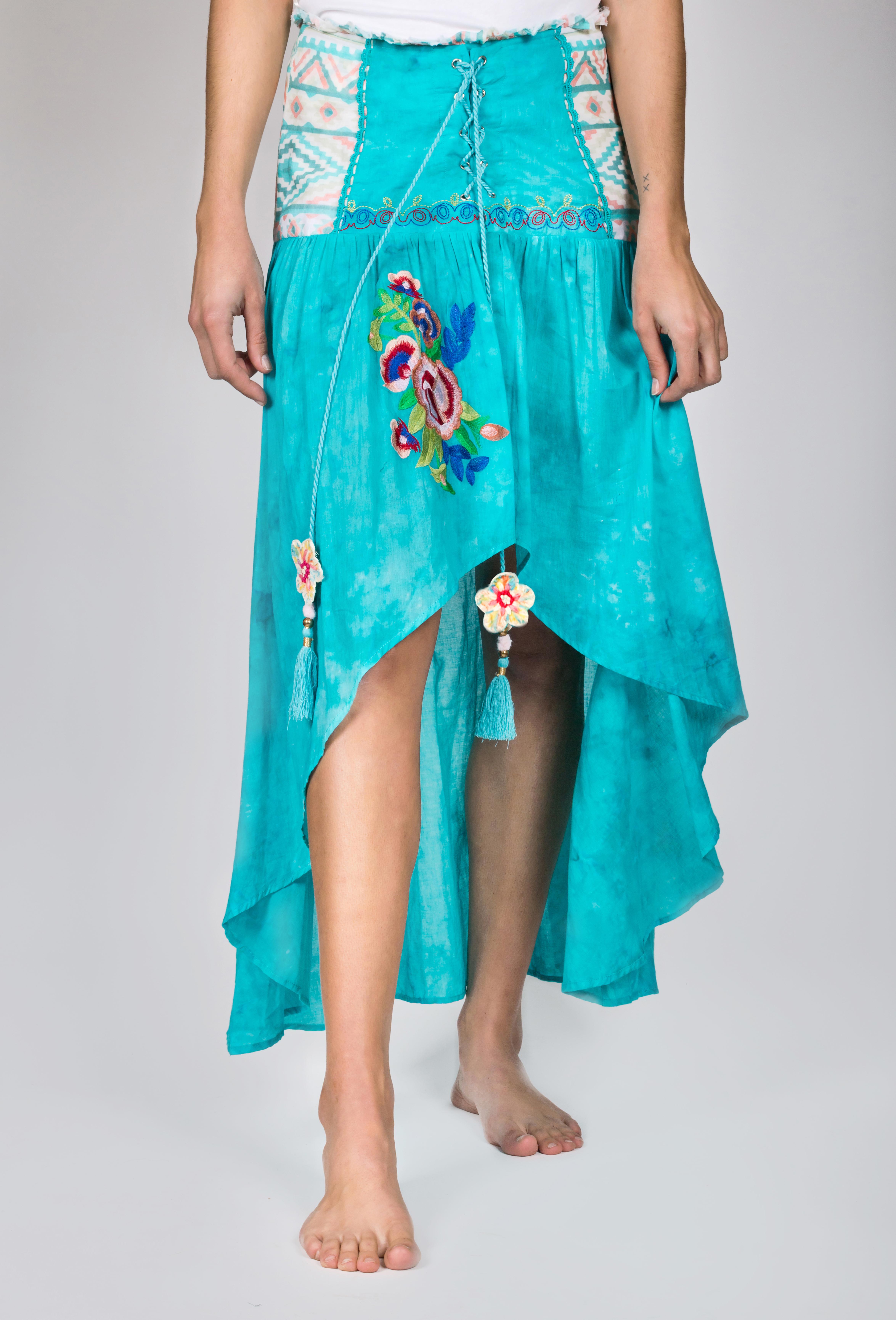 Shoklett: High Low Corset Waist Sea Flower Skirt Sherlyn (2 Left!) SHOKLETT_23S19SK_SKIRT