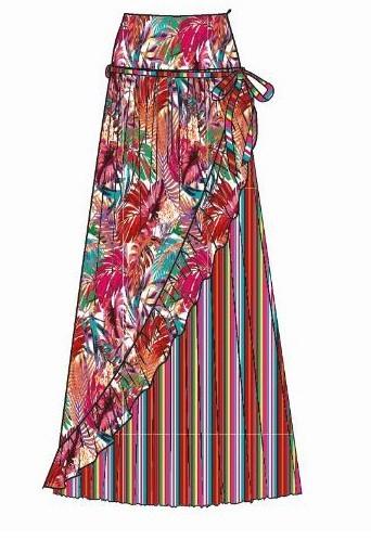 Paul Brial: Jungle Of Pink Purple Blooms Maxi Skirt