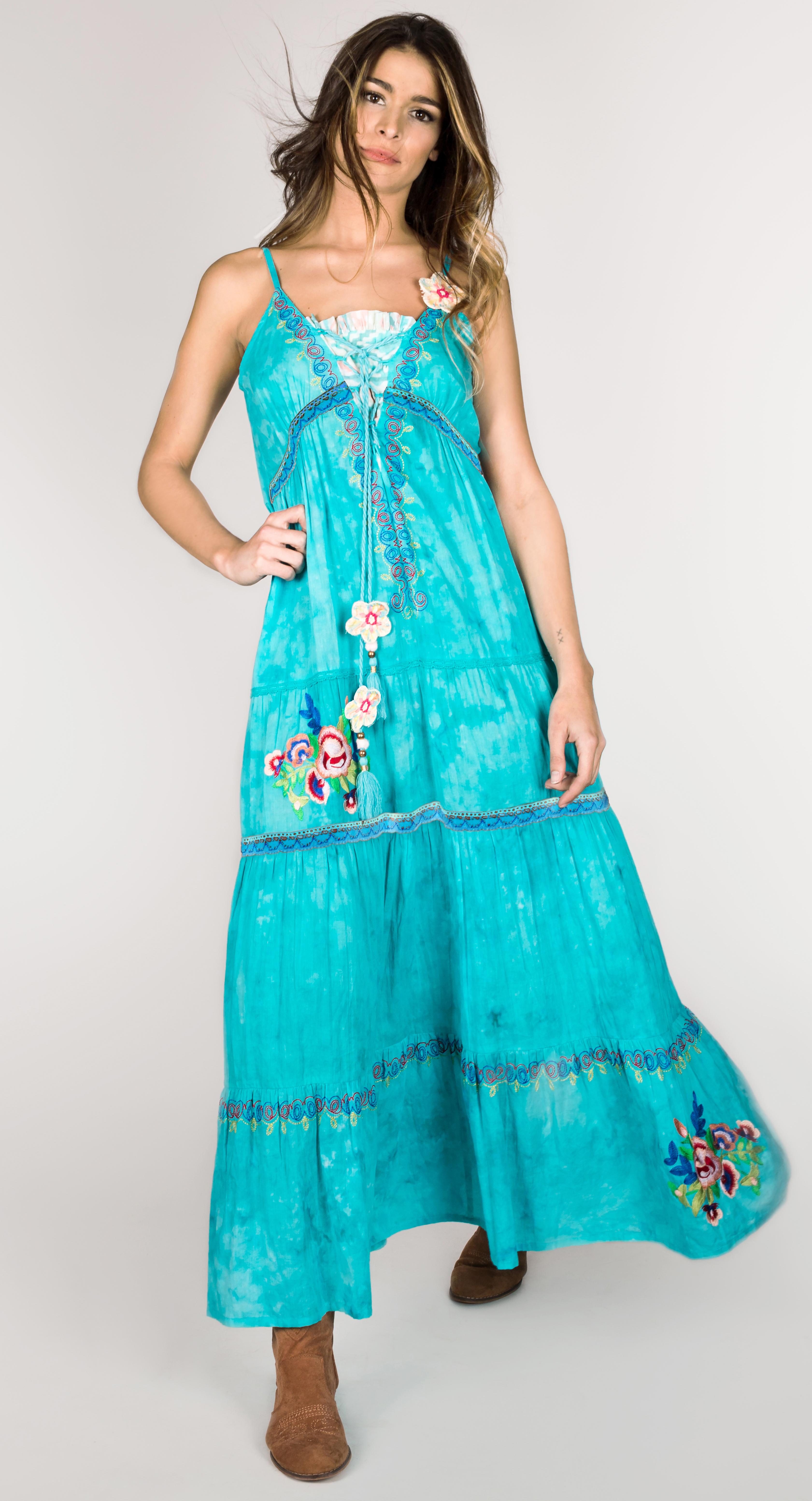 Shoklett: High Low Corset Tied Bodice Sea Flower Maxi Dress Sherlyn (Few Left!) SHOKLETT_10022S19DR_N2