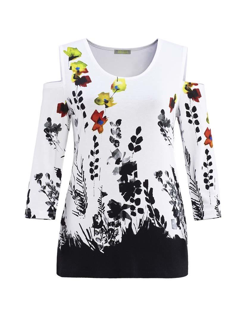 Dolcezza: Stunning Ink Floral Designed Cold Shoulder Tunic (1 Left!) DOLCEZZA_19121_N