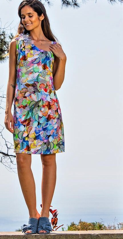 Paul Brial: Colors Of The Water Lily Asymmetrical Dress (1 Left!)