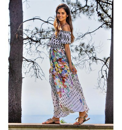 Paul Brial: Colors Of The Water Lily Off Shoulder Maxi Dress