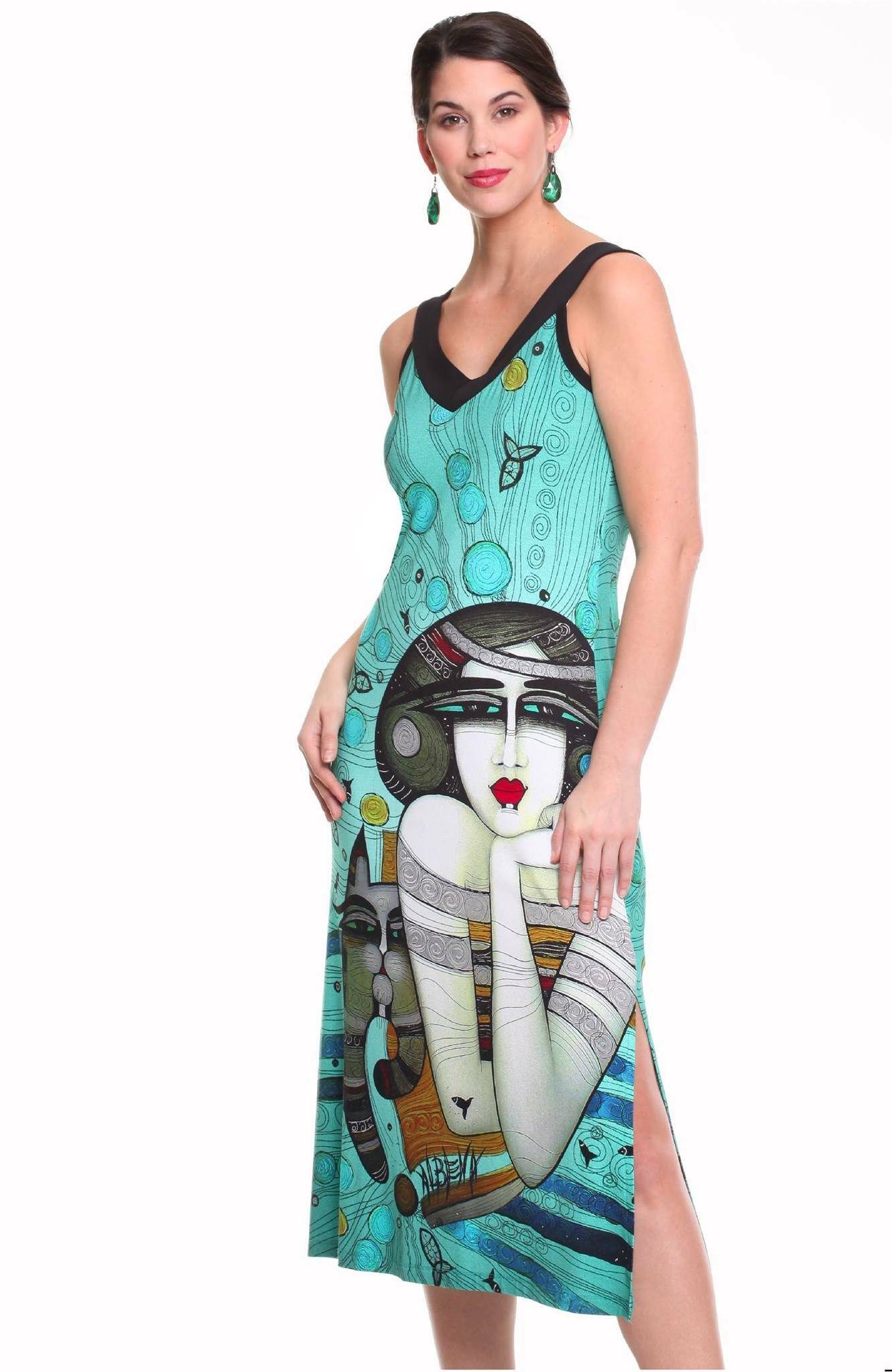 Dolcezza Simply Art: Mermaid Dreamings Flared Art Dress SOLD OUT DOLCEZZA_SIMPLYART_19642_N