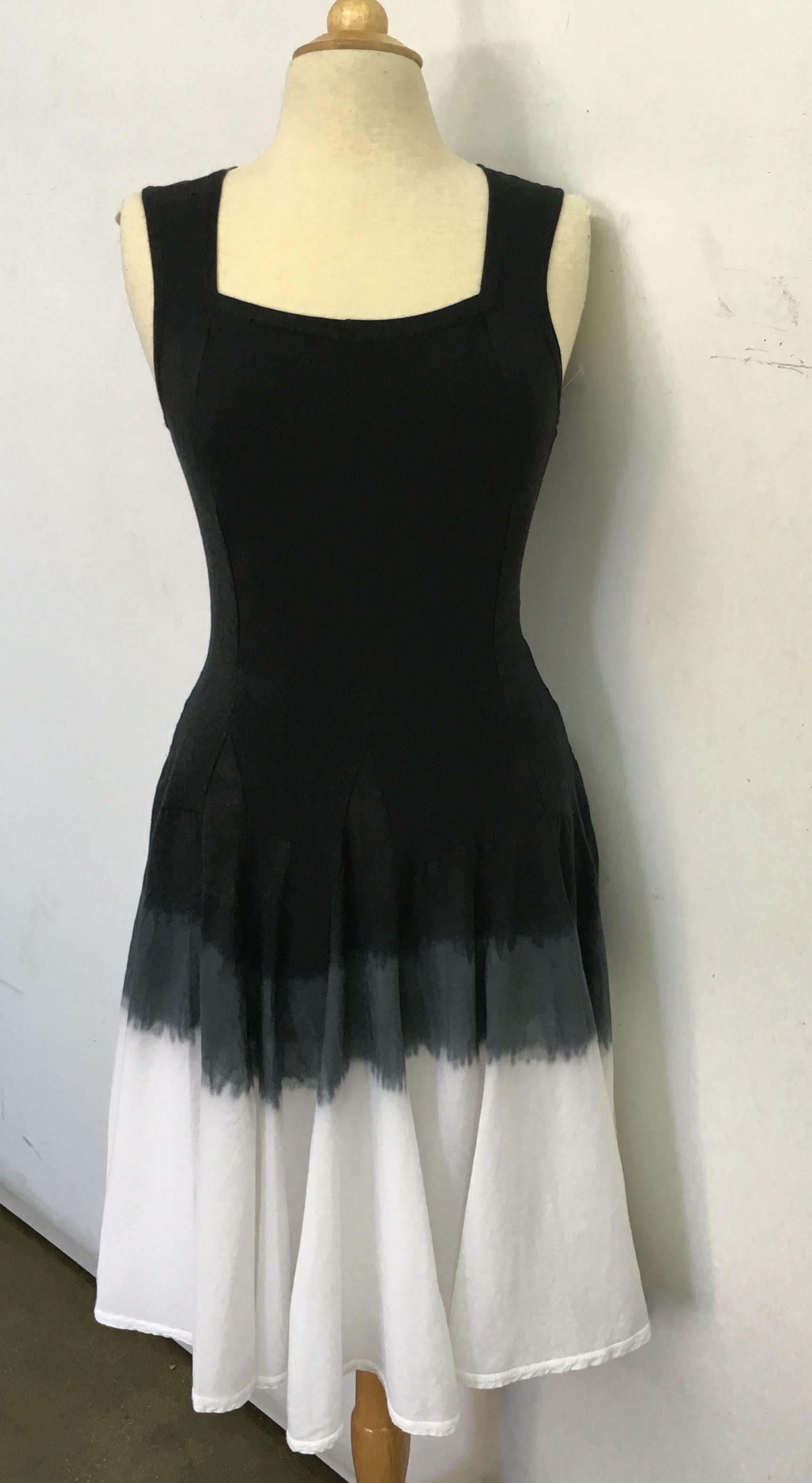 Luna Luz: Godet Dyed Black/White Ombre Square Neck Dress SOLD OUT