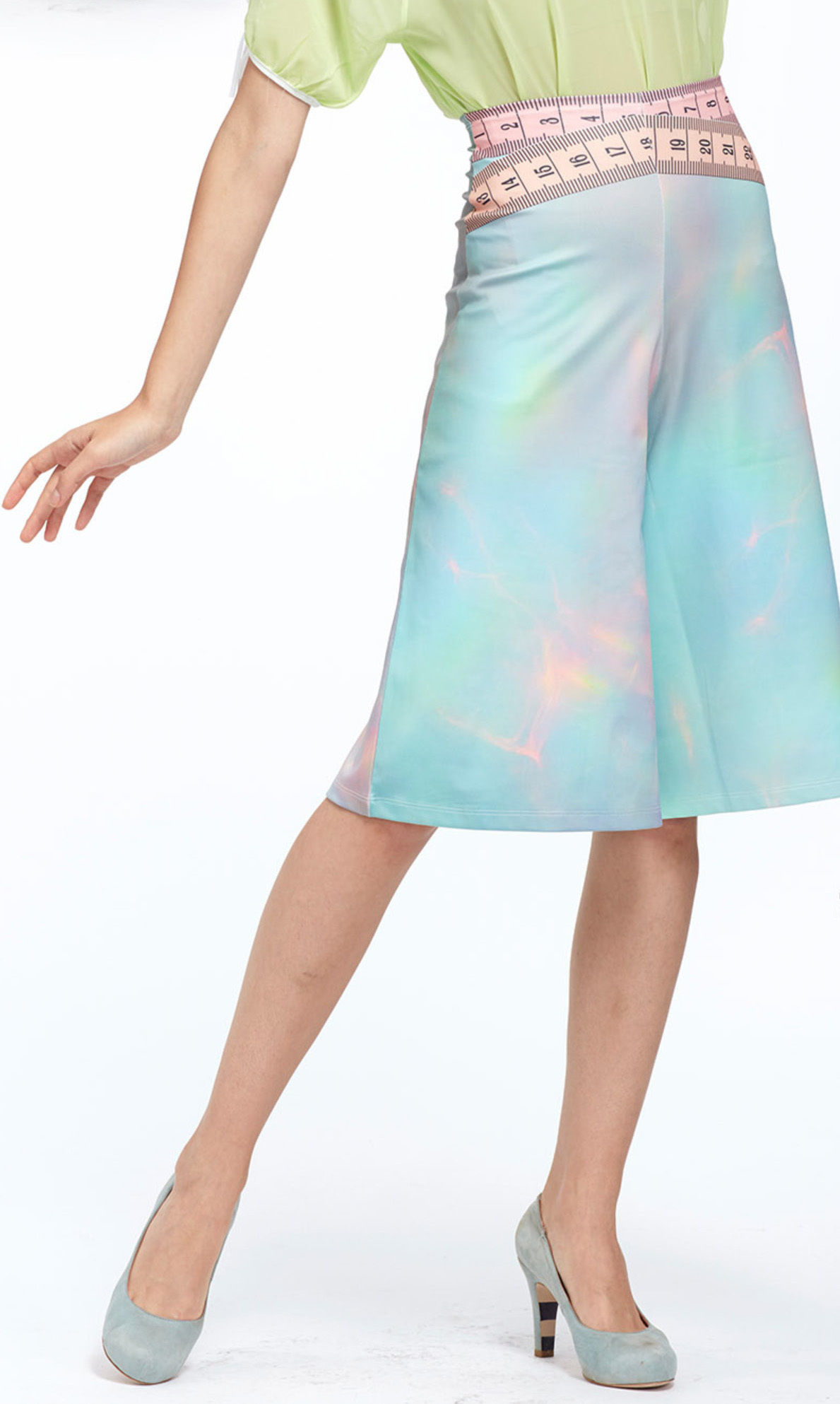 IPNG: Iridescent Pink Mint Lokoometric Illusion Short/Midi Skirt (Some Ship Immed!) IPNG_LOMSHO-045_N
