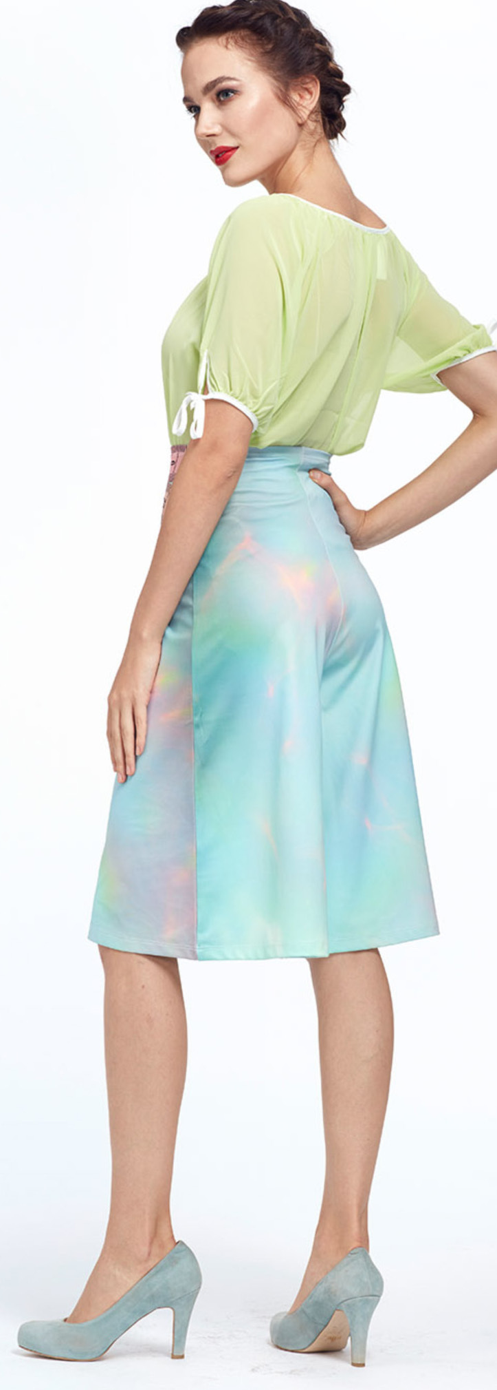 IPNG: Iridescent Pink Mint Lokoometric Illusion Short/Midi Skirt (Some Ship Immed!)