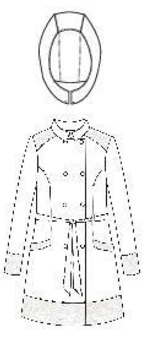 Rosette Cotton Rain Coat  sketch