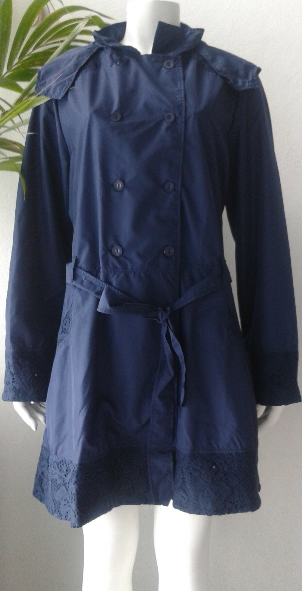 Rosette Cotton Rain Coat  indigo front