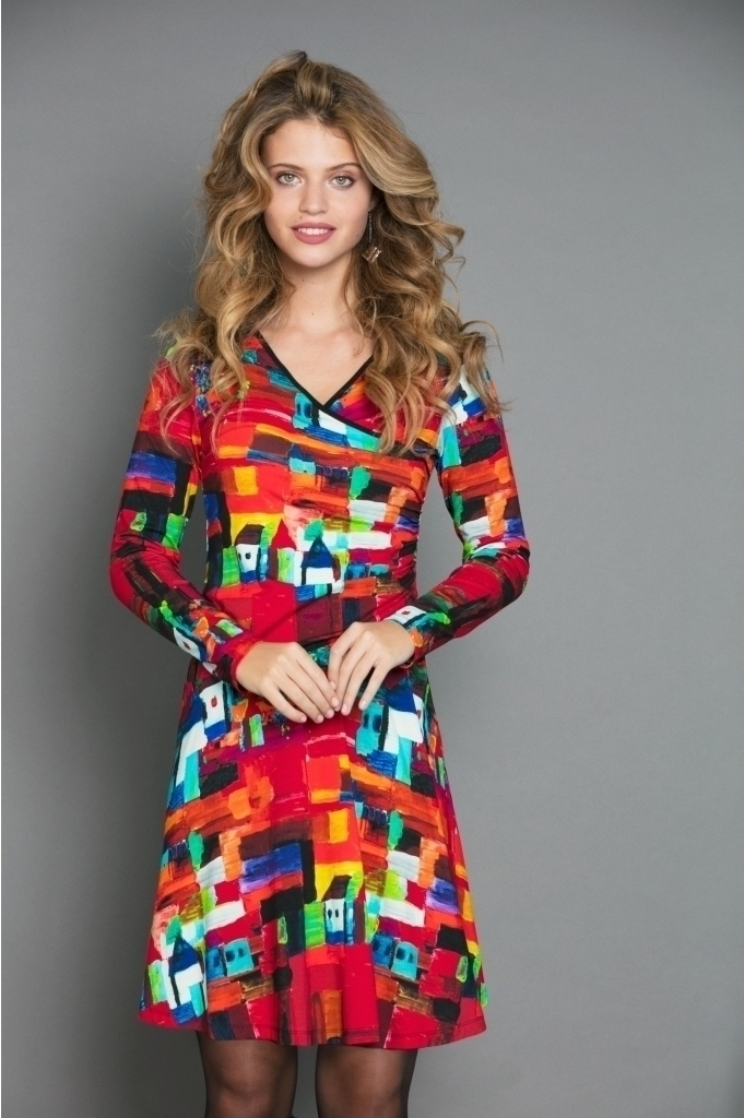 Maloka: French Fairytale Village Abstract Art Crossover Dress (Few Left!) MK_VERTIGE_N1