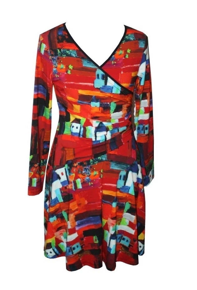 Maloka: French Fairytale Village Abstract Art Crossover Dress (Few Left!)