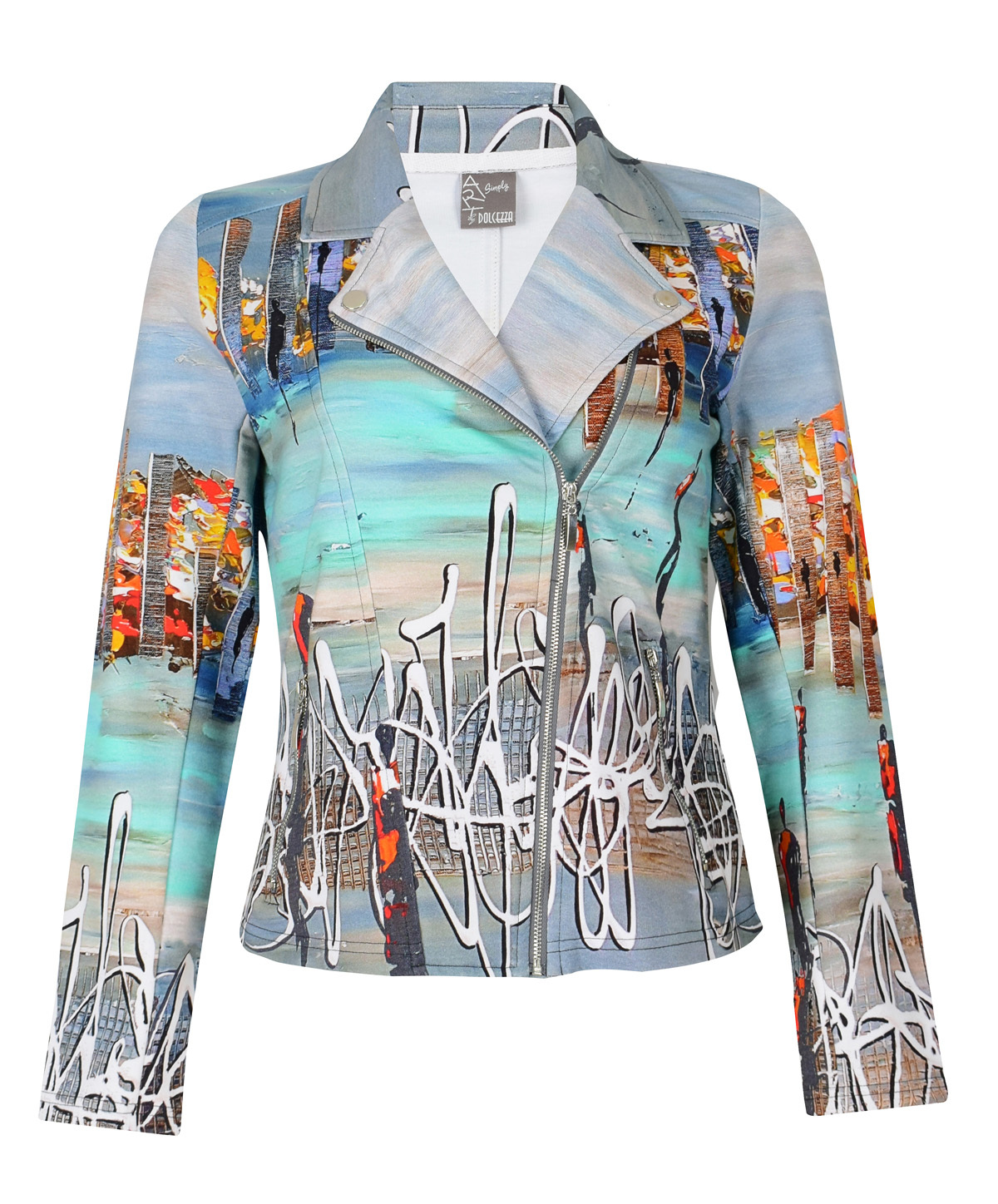 Simply Art Dolcezza: Indeed A Picture Perfect Beach Abstract Art Zip Moto Jacket SOLD OUT Dolcezza_SimplyArt_59675